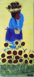 Sunflower Lady painted on board